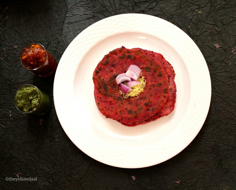 Wholewheat-Beetroot-Cheese-Paratha-Flatbread