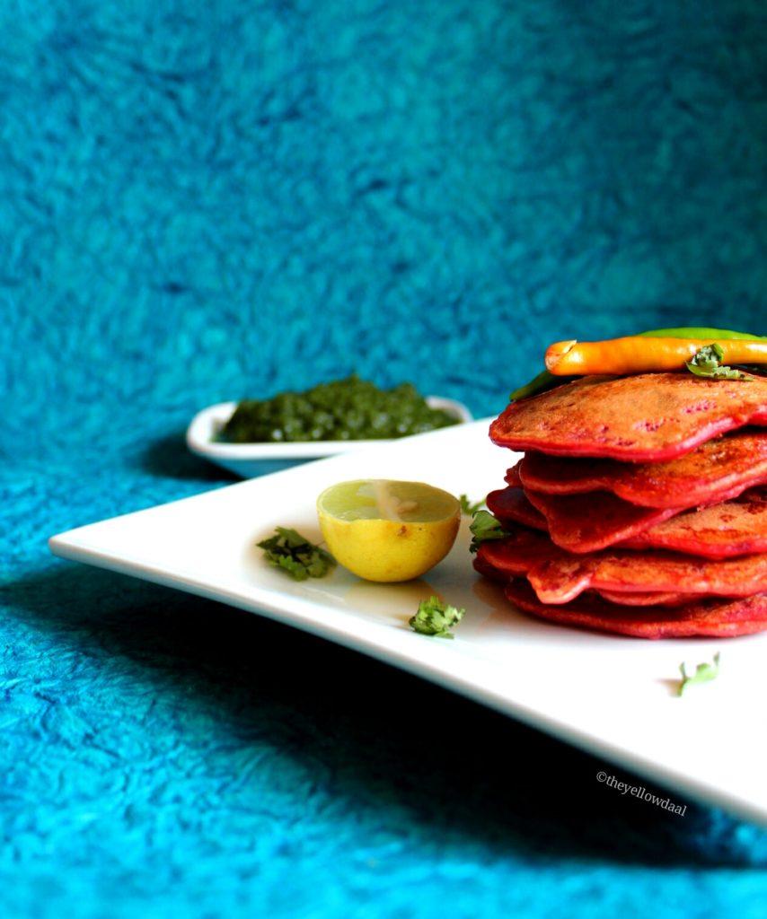 Besan Aur Beetroot Ka Chila / Gram Flour & Beetroot Gluten free Pancake